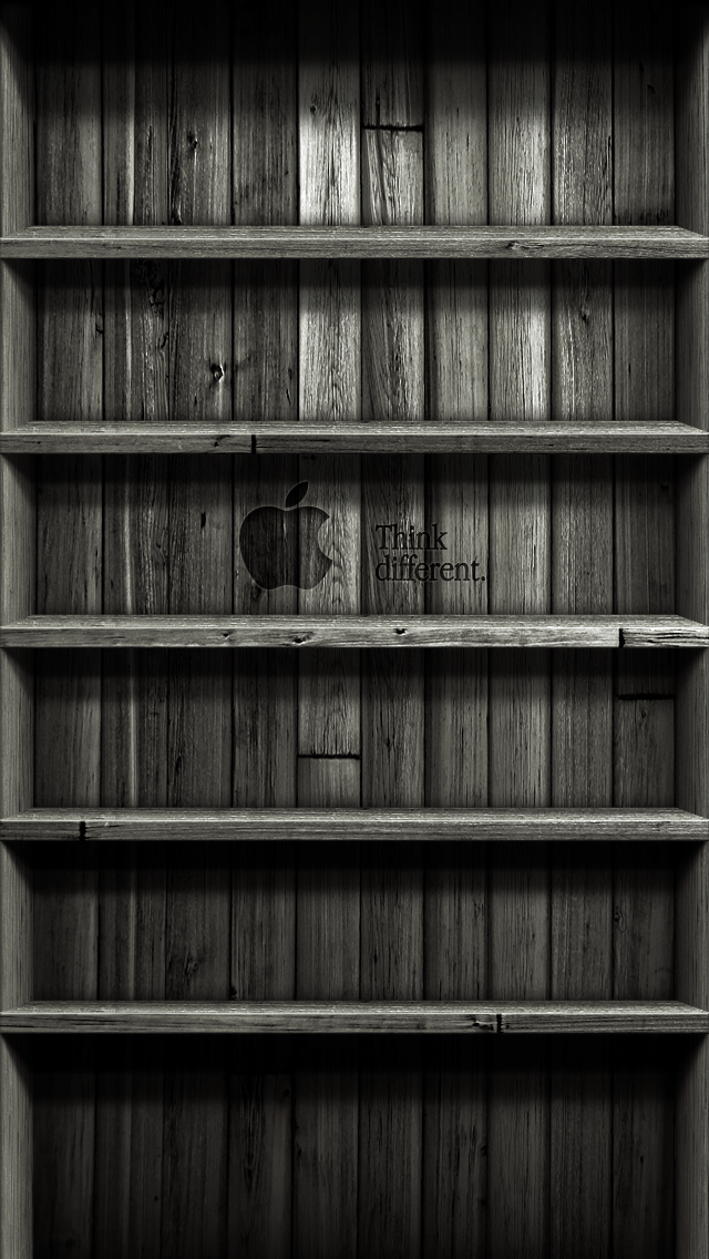 Wood Shelf Wallpaper Black for iPhone5