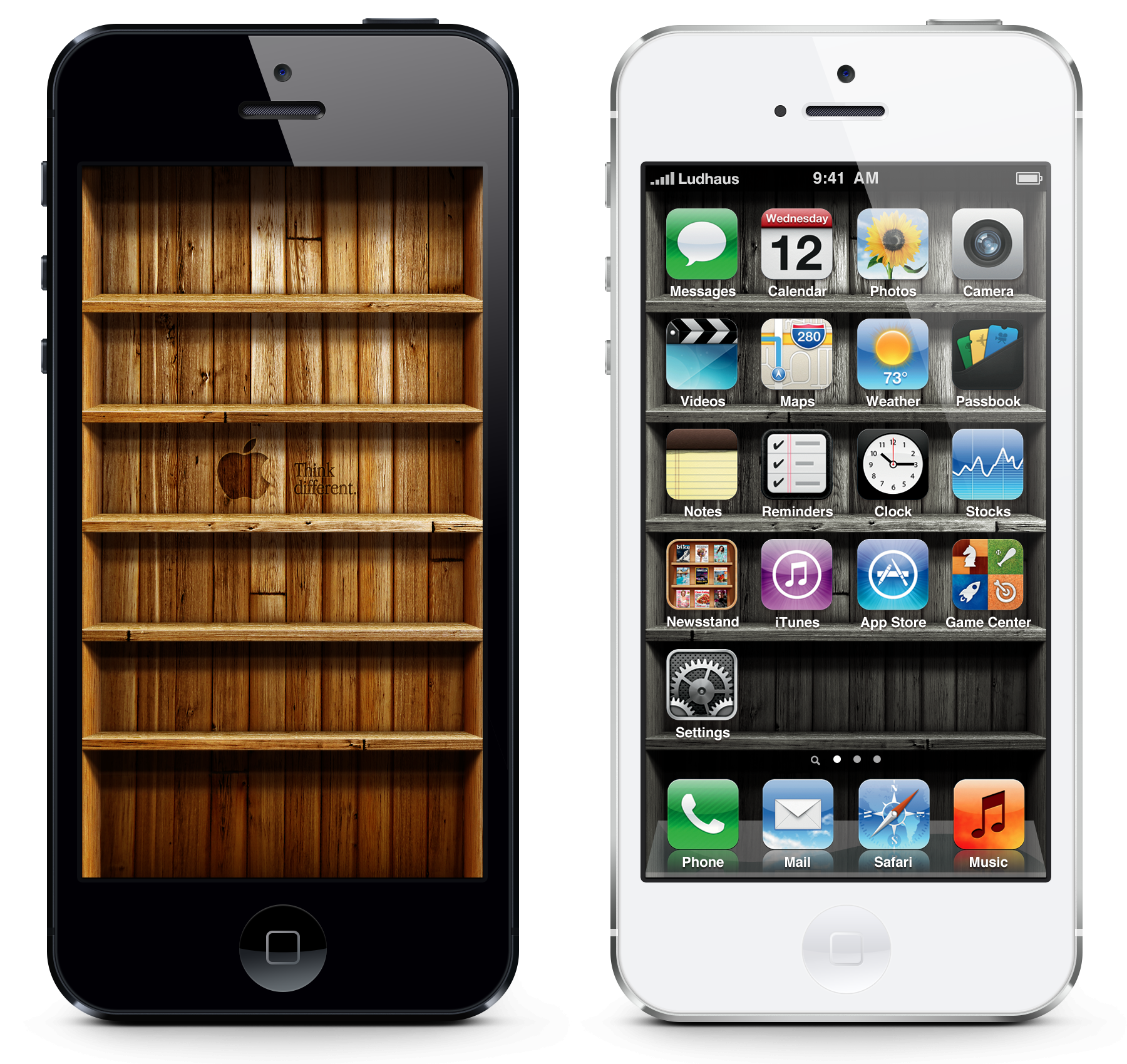Woodshelf Wallpaper for iPhone 5